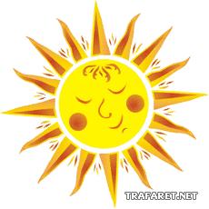 Солнышко (трафарет, малая картинка)