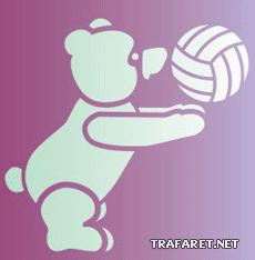 Тедди-баскетболист (трафарет, малая картинка)