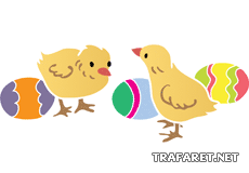 Пасхальные цыплята 02 (трафарет, малая картинка)