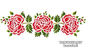 Трафарет три фолк розы