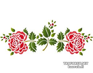 Трафарет Две фолк розы