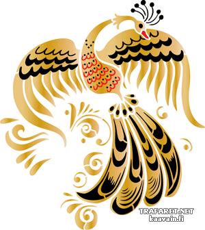 Хохломской лебедь 7 (трафарет, малая картинка)