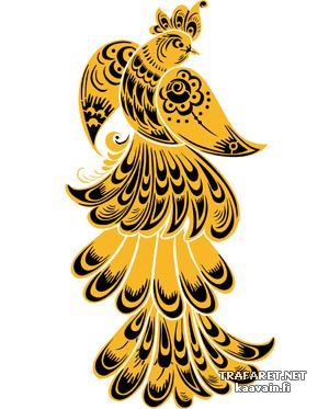Хохломская жар-птица (трафарет, малая картинка)
