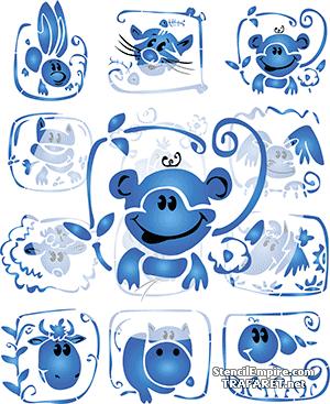 Трафарет Веселая обезьянка