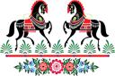 Городецкие лошади 7 (трафарет, малая картинка)