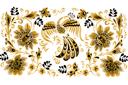 Жар-птица в цветах (трафарет, малая картинка)