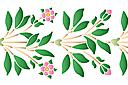 трафарет Бордюр ветки шиповника с цветами и бутонами.