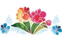 Жостовские цветы 5 (трафарет, малая картинка)