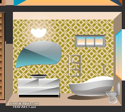 Пример декора стены трафаретом - Марокканская ванная