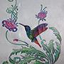 Пример трафарета Колибри в цветах
